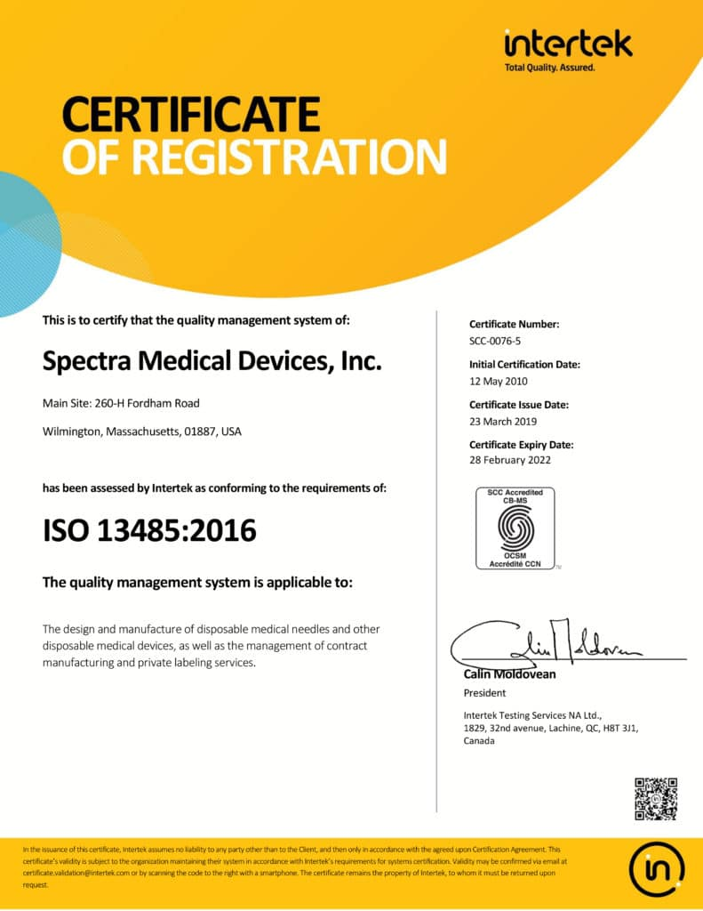 Spectra ISO Certificate